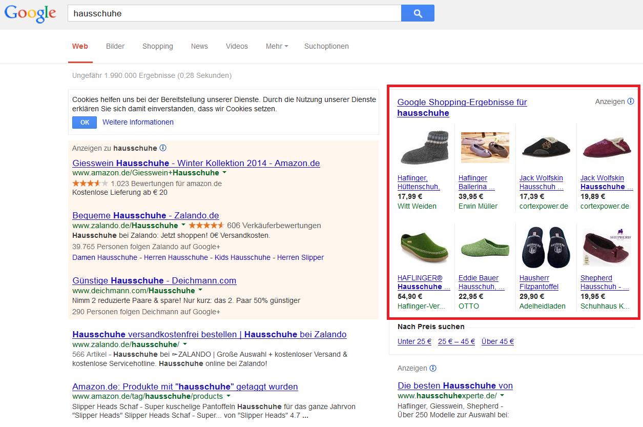 Darstellung der Product Listing Ads in der Google Suche