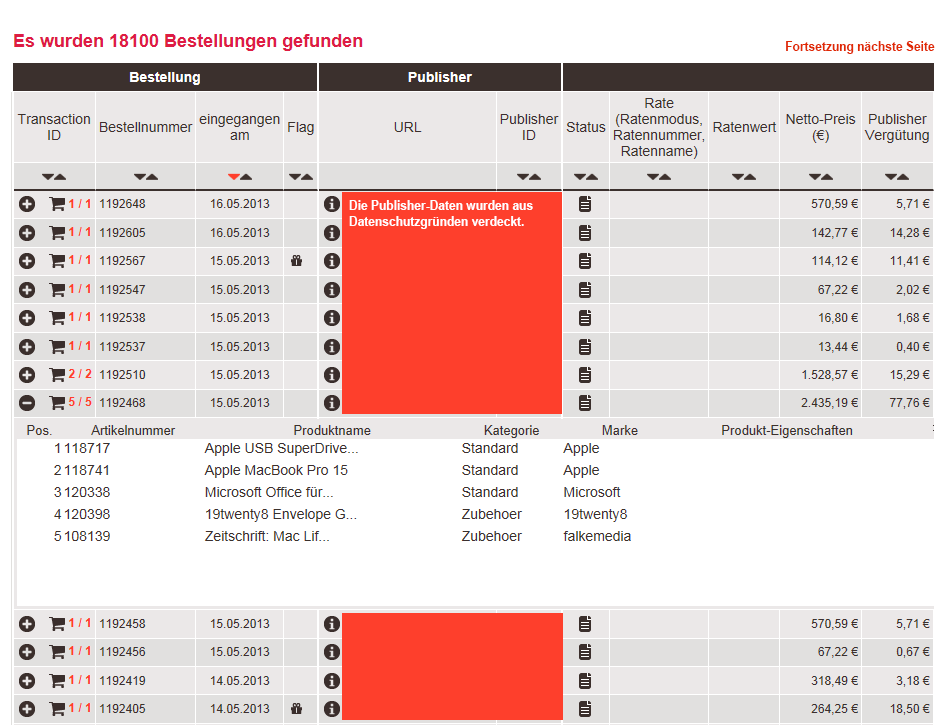 Basket-Tracking mit affilinet