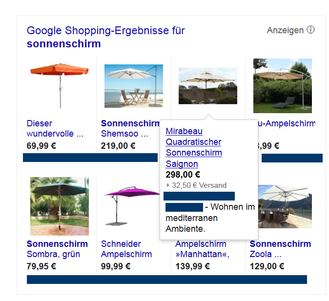 Beispiel Google Shopping Ergebnis für Sonnenschirm
