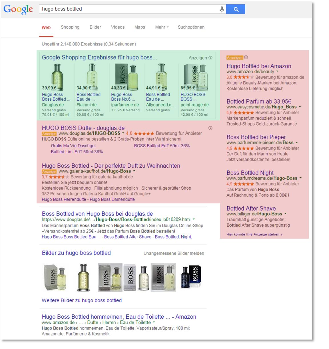 """Ergebnis der Eingabe des Suchbegriffs """"Hugo Boss Bottled"""" am 25.11.2014"""