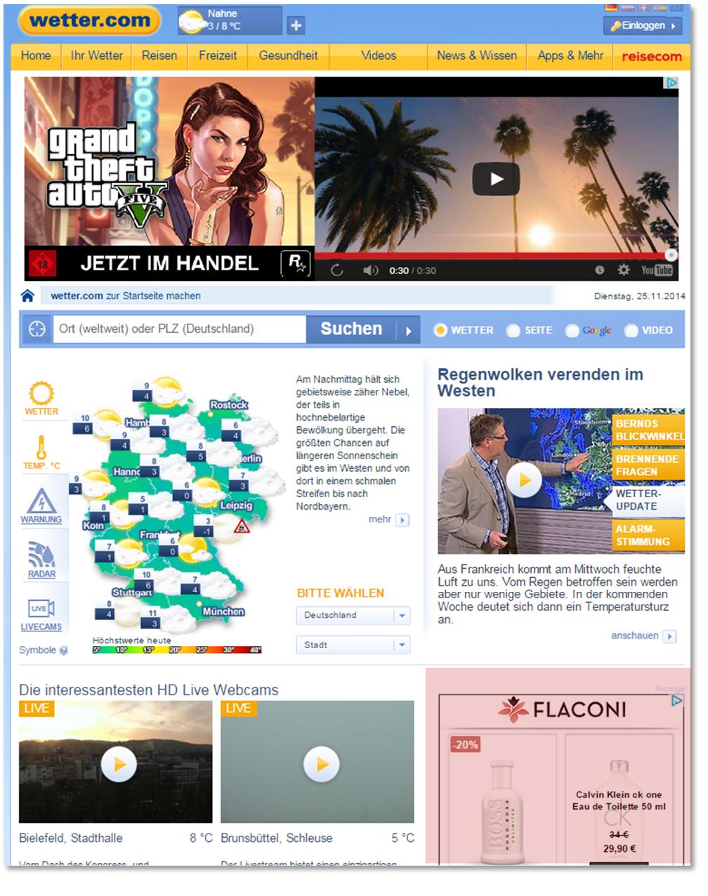 Screenshot wetter.com nach dem Besuch auf flaconi.de am 25.11.2014