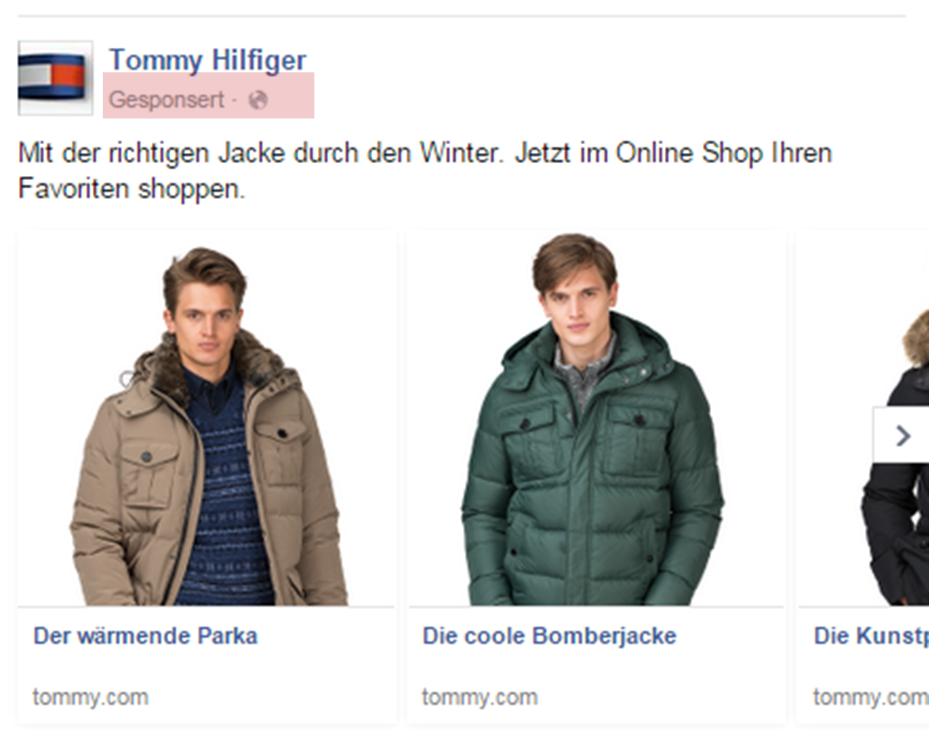 Werbeanzeige Tommy Hilfinger im Facebook Stream am 26.11.2014