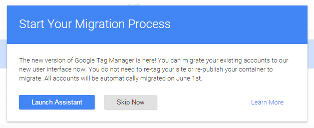 Google Tag Manager Migrationsassistent PopUp
