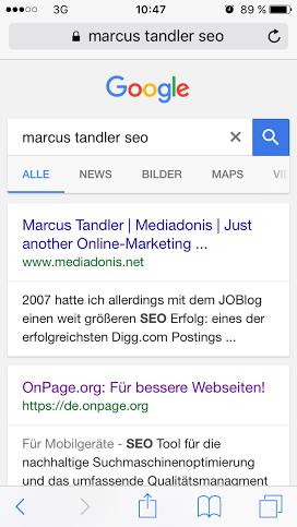 Klicktest Marcus Tandler SEO