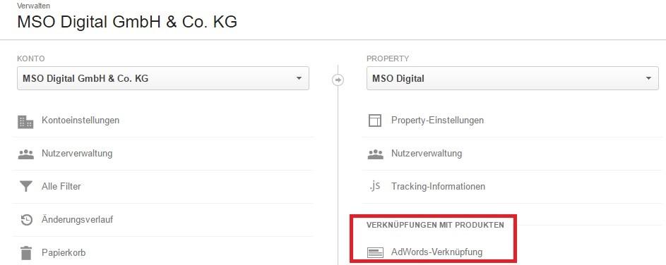 AdWords und Analytics miteinander verknüpfen