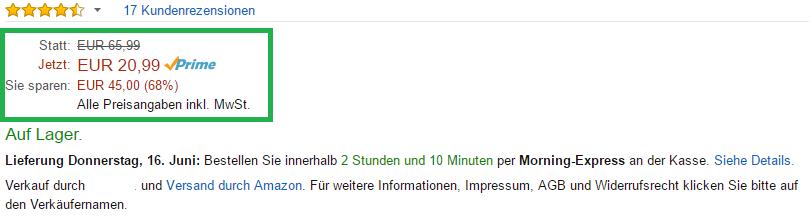 Amazon Rankingfaktor: Preis