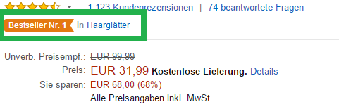 Amazon Rankingfaktor: Verkaufsrang