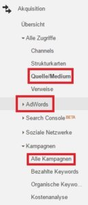 Akquisition in Google Analytics