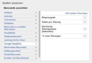 Spalten in Google Analytics anpassen