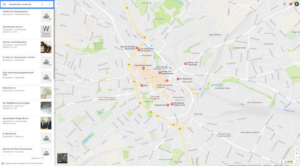 Lokale Unternehmen in Google Maps