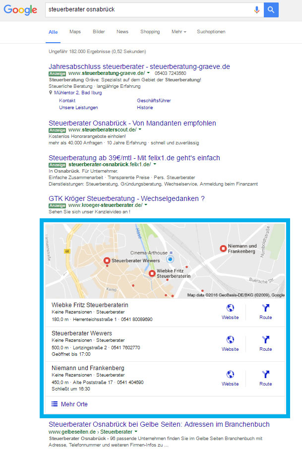 Google Maps in der SERP