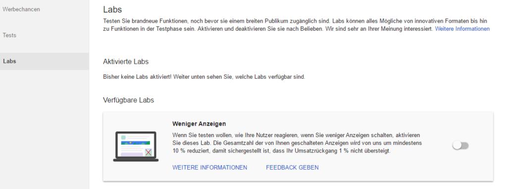 """Screenshot Beispiel: AdSense Labs mit Lab """"Weniger Anzeigen"""" - MSO Digital"""