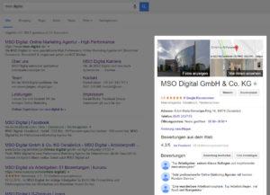 Google My Business Suchergebnissseite