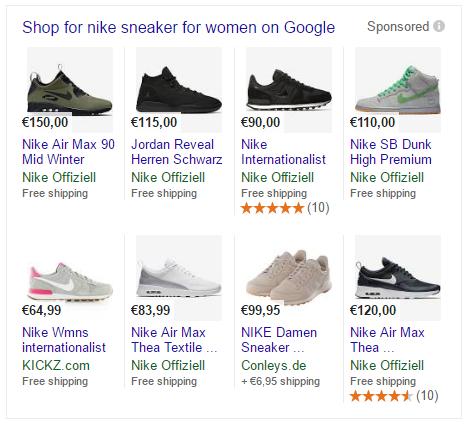 Beispielanzeige: Google Shopping
