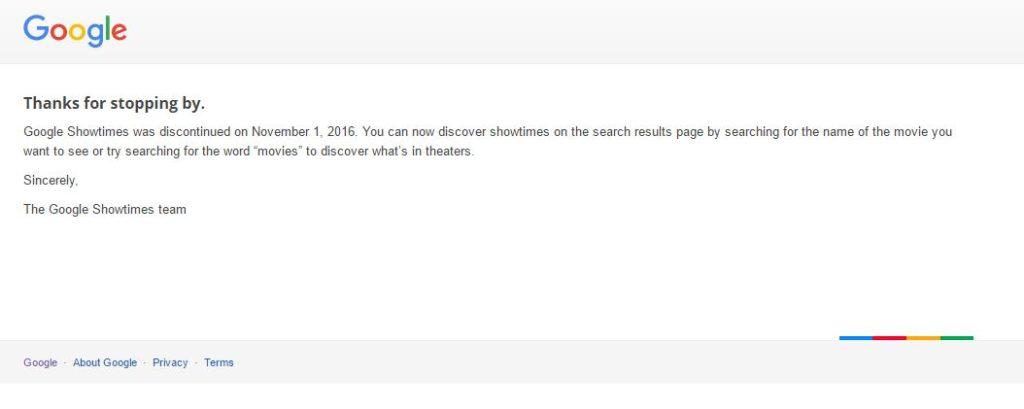 Google Showtimes