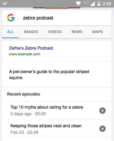 google rich ergebnis podcast