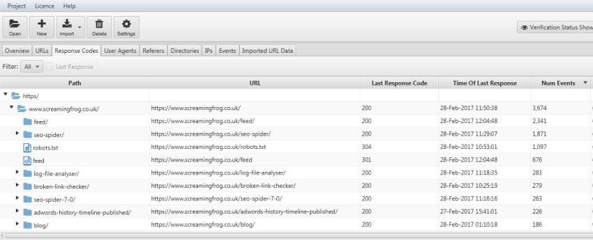 verzeichnisbaum response codes registerkarte