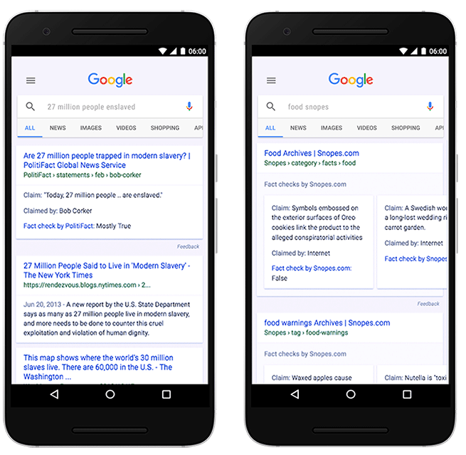 Fast Check Ausgabe in den Google News