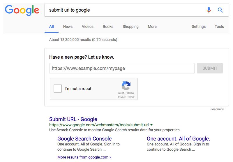 URL Zulassung über die Suchergebnisseite