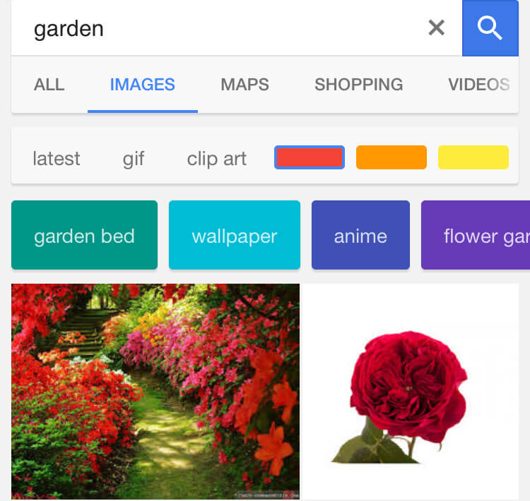 Nach Farben filtern in der mobilen Bildersuche