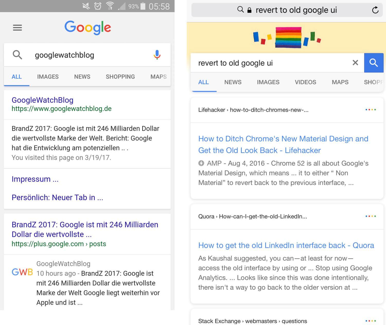 Änderungen in der mobilen Suche