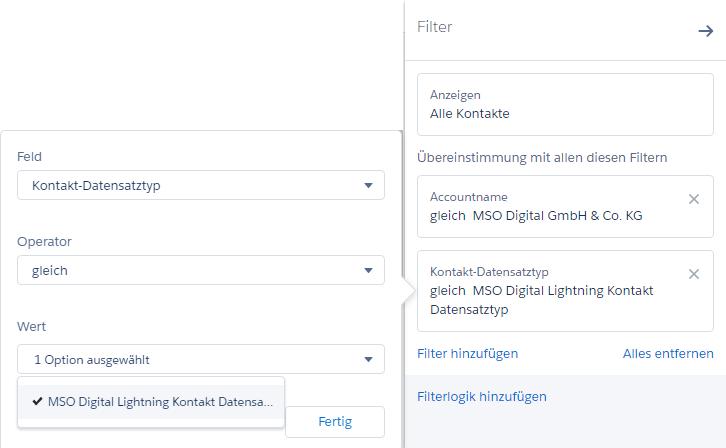 Salesforce: Filtern des Datensatztypen