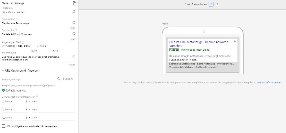 Mobile Vorschau der Anzeigenerstellung im Google AdWords Redesign