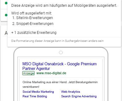 Mobile Anzeigenvorschau mit Sitelinks im AdWords Redesign