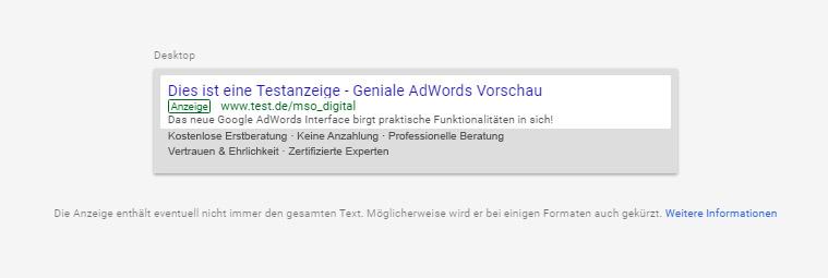 Anzeigenvorschau schon während der Erstellung für Mobile und Desktop