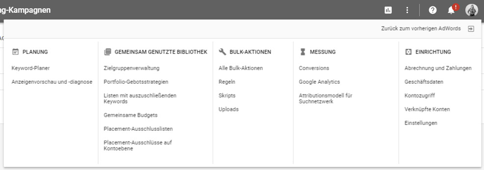 Navigation im AdWords Redesign