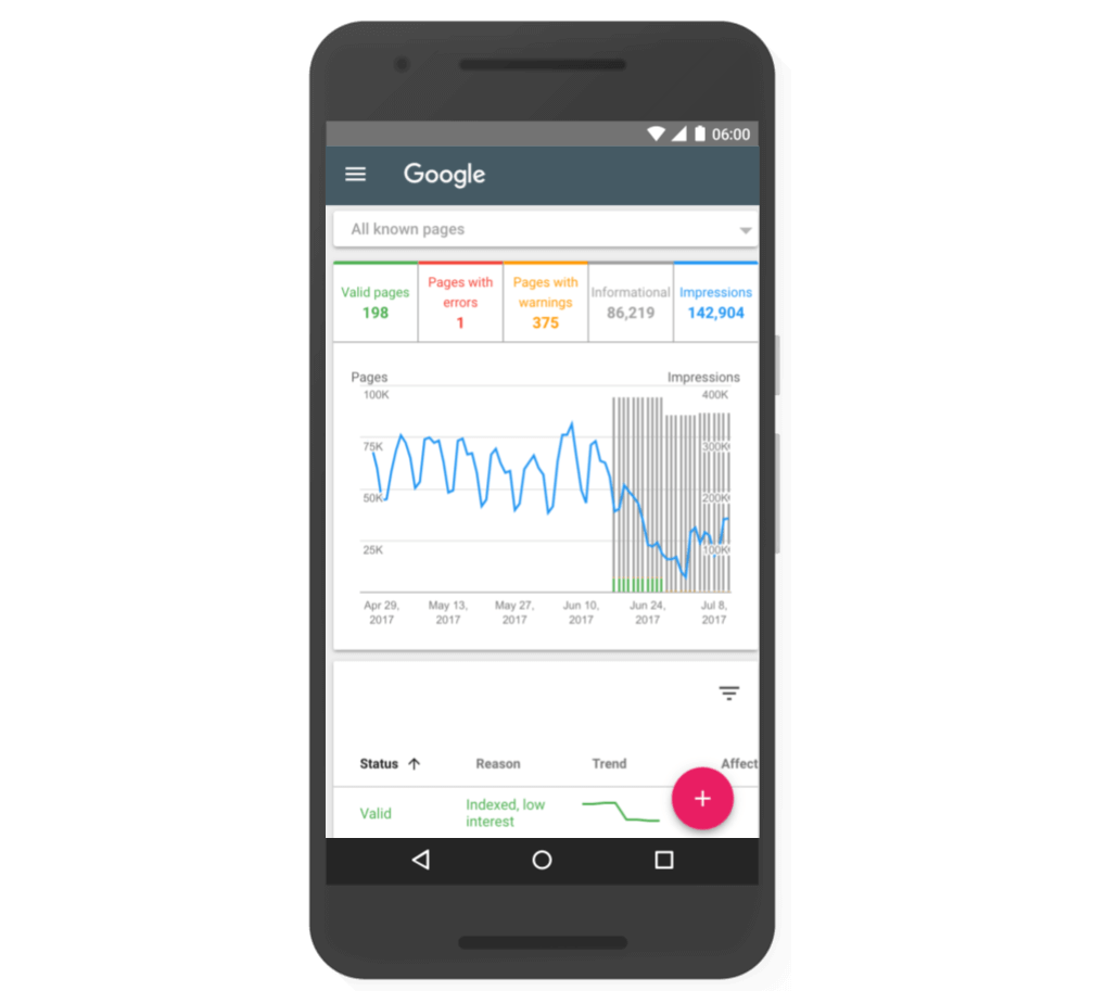 neues layout google search console