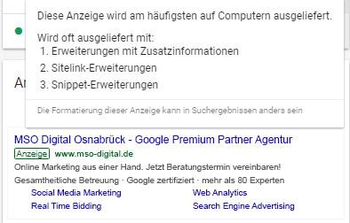 Desktop Anzeigenvorschau mit Sitelinks im AdWords Redesign