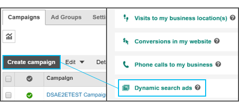 Dynamic Search Ads bei Bing