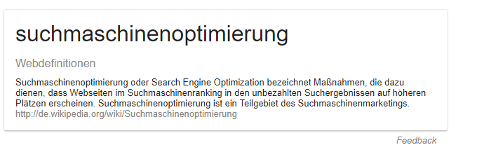 featured snippet mit text