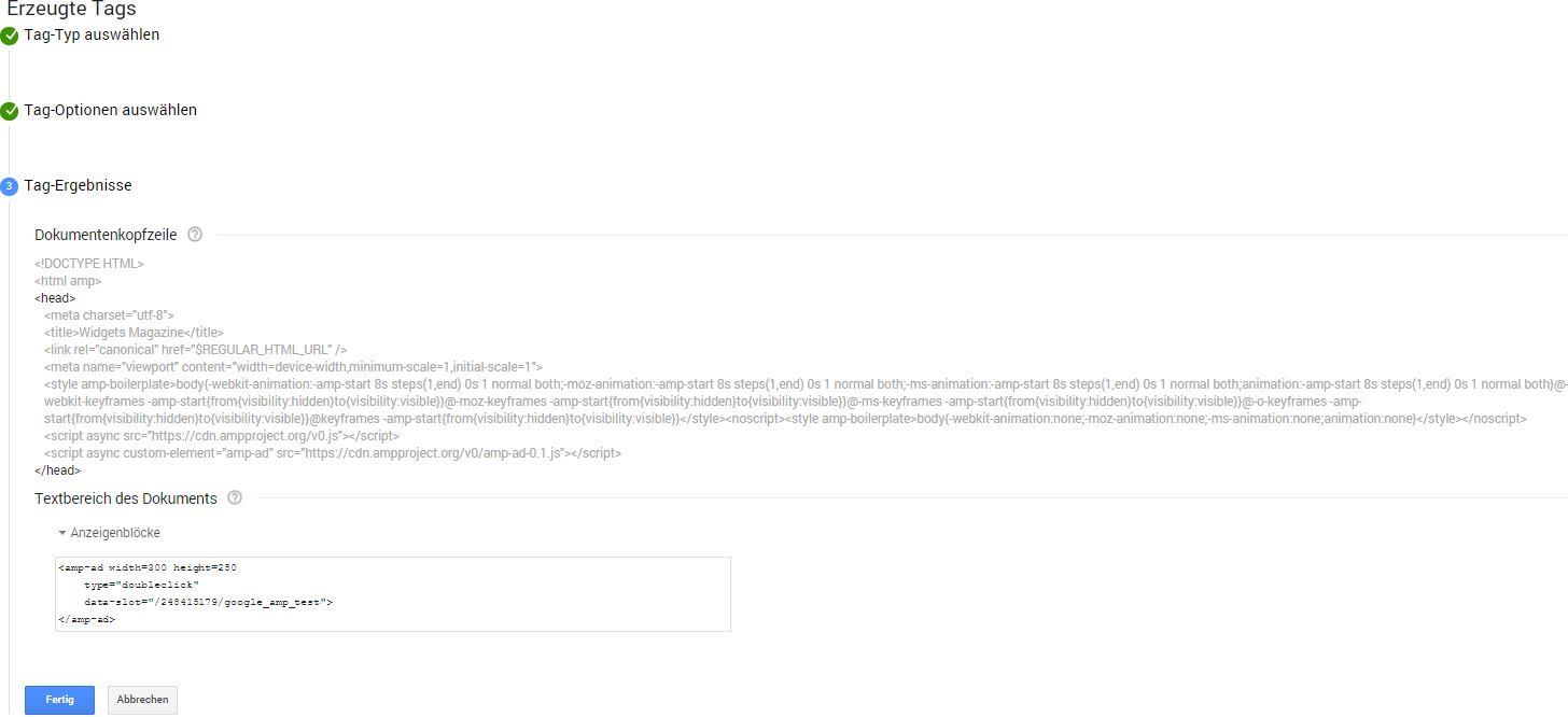 Generierter AMP HTML-Tag