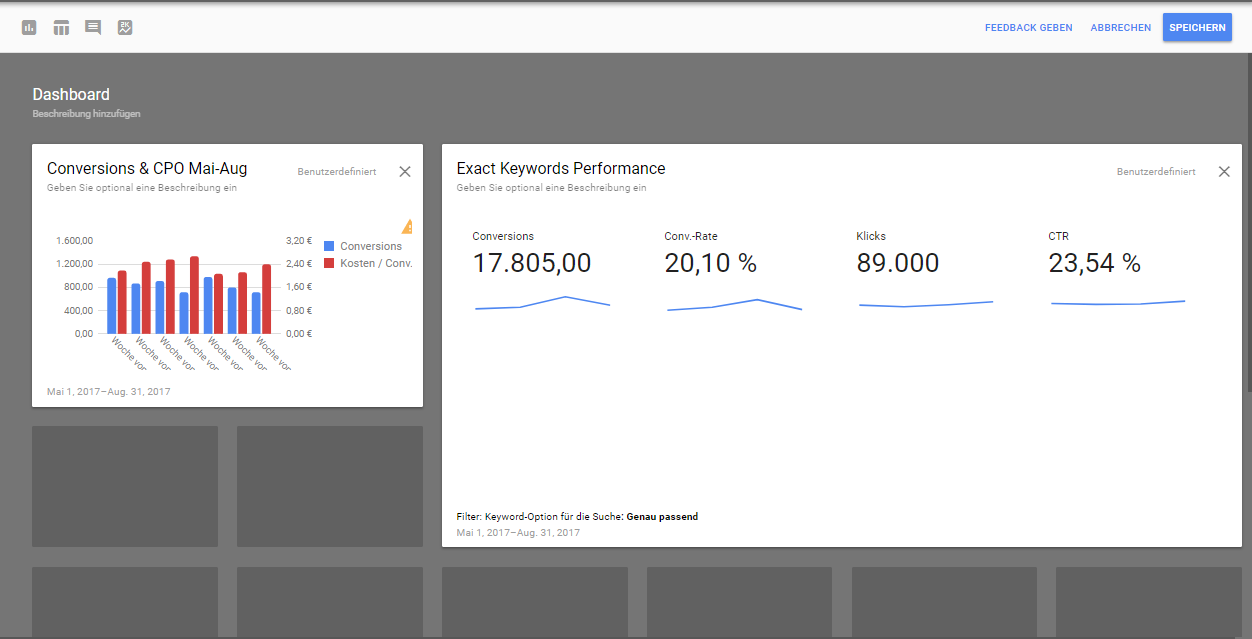 AdWords Dashboard zur Berichterstellung