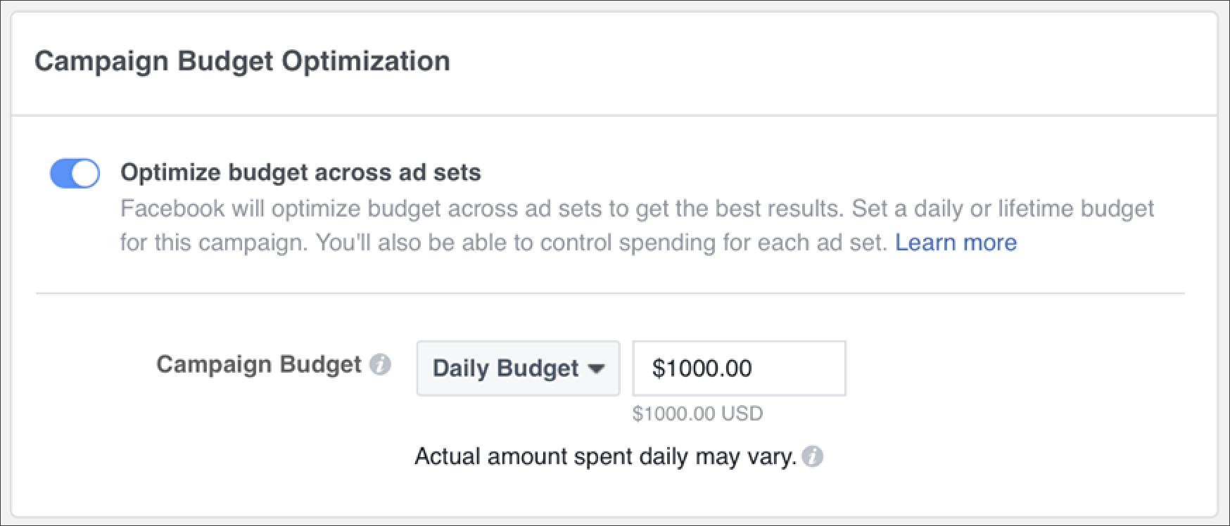 Facebook Budgetoptimierung