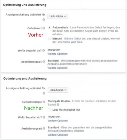 Facebook Gebotseinstellungen umbenannt