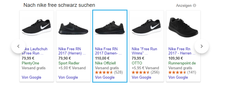 Verschiedene Bildvarianten in Google Shopping
