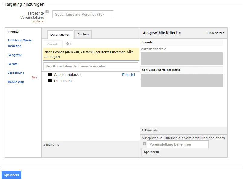 Targetingoptionen für Anzeigenblöcke im DFP AdServer