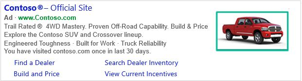 Bilderweiterungen als zusätzliches Element in Bing Ads (Quelle: Bing)