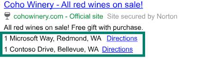 Standorterweiterungen für Bing Ads (Quelle: Bing)verleihen dem Nutzer Vertrauen (Quelle: Bing)