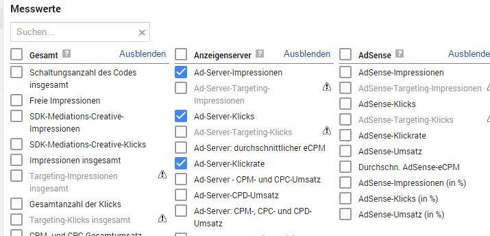Messwerte für Abfragen im DFP AdServer