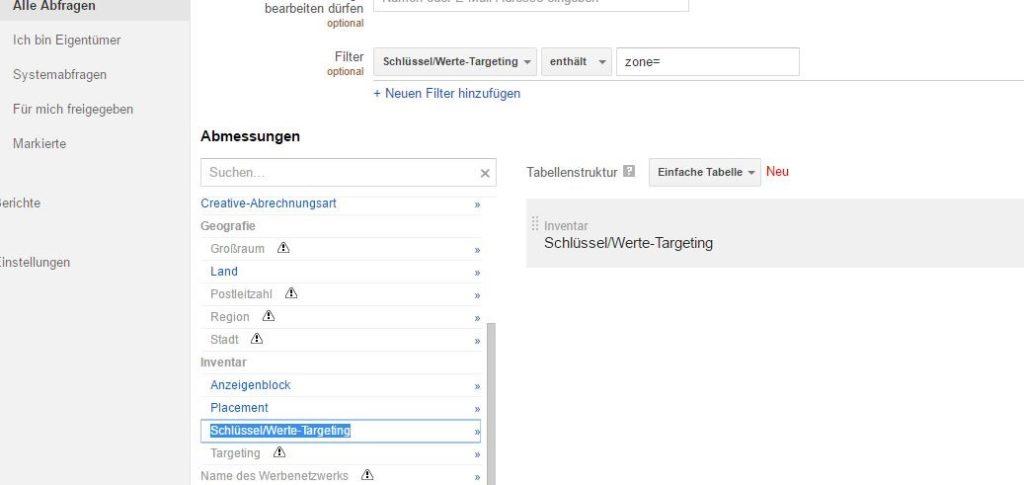 Reporting-Filter für Abfragen im DFP AdServer