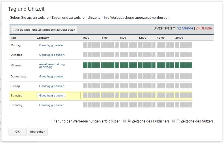 Schaltungszeit / Tag für Werbebuchung im DFP AdServer festlegen