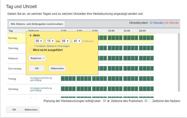 Schaltungszeit / Uhrzeit für Werbebuchung im DFP AdServer festlegen