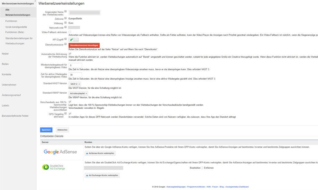 DFP AdServer mit eingeschalteter Kontoverknüpfung von Drittanbieter-Diensten