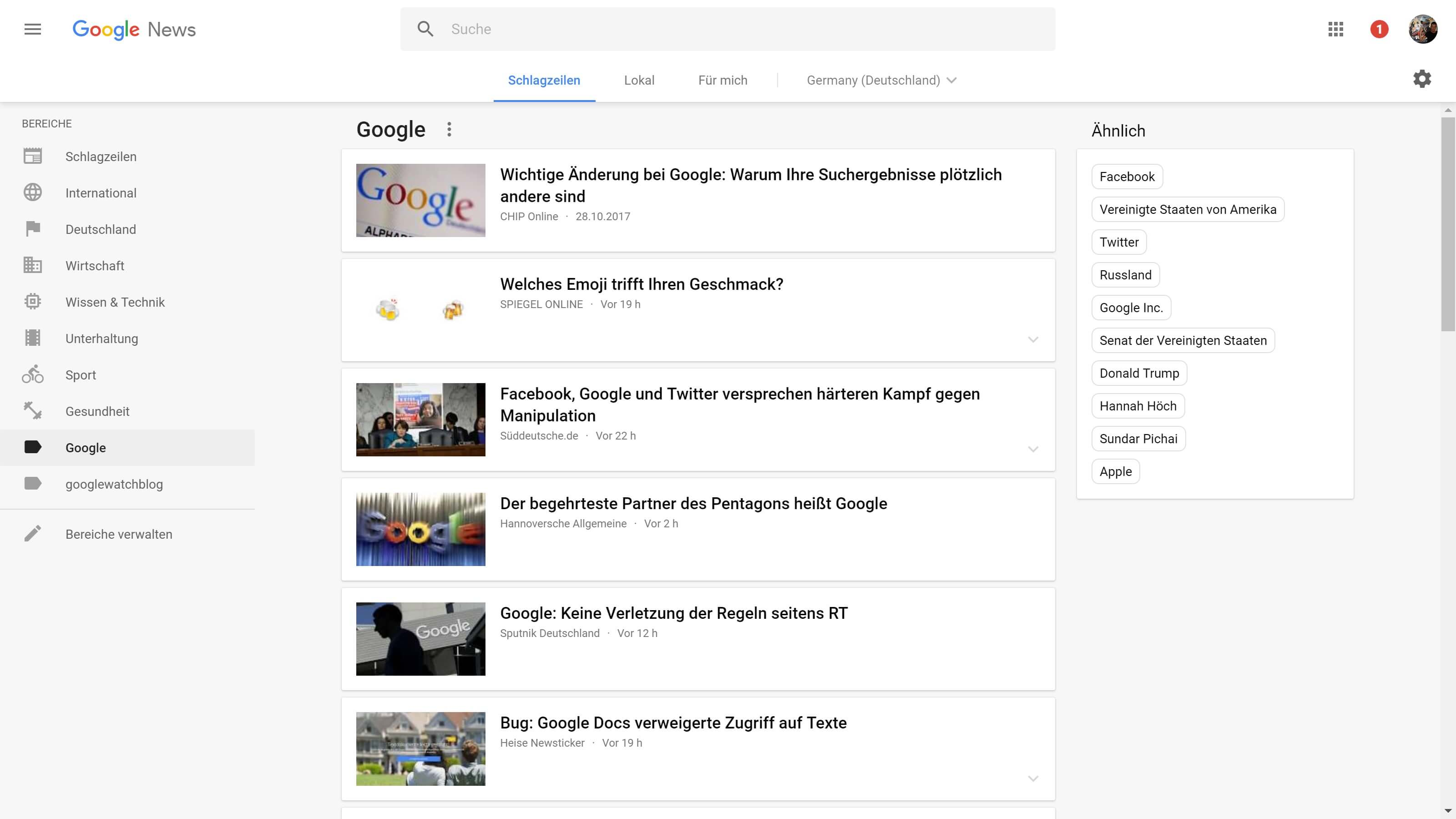 google news ergebnisse