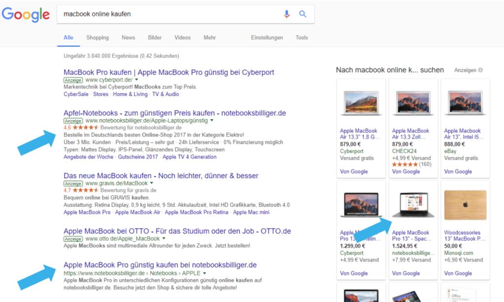 Google Suche Beispiel