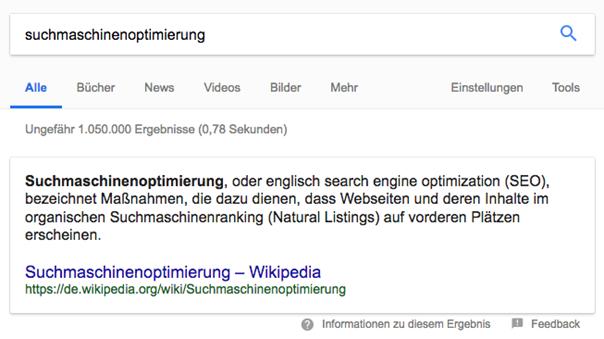 Abbildung 7: Featured Snippet von Wikipedia zu Suchmaschinenoptimierung